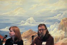 Panelists Laura McClain and David Woolley (Margo Malos, Photographer)
