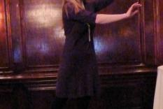 Dr. Erin Smith demonstrating Regency ballet position (Vicky Hinshaw photographer)