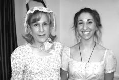 Martha Carpraratta and Stefanie Piatkiewicz in their regency finery