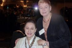 Sandy Lerner and GCR Education Outreach Director, Diane Capitani (photographer Vicky Hinshaw)