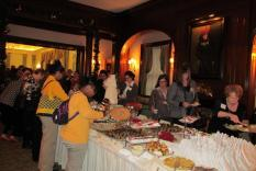Members and guests in line for the tea (Margo Malos, Photograper)